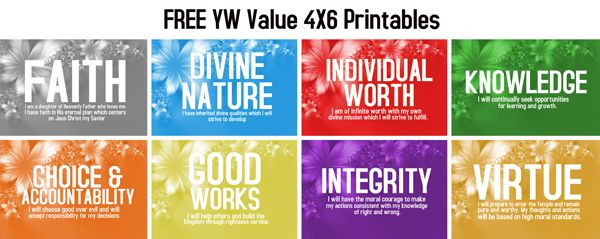 FREE LDS Young Women (YW) Value Printables 4X6