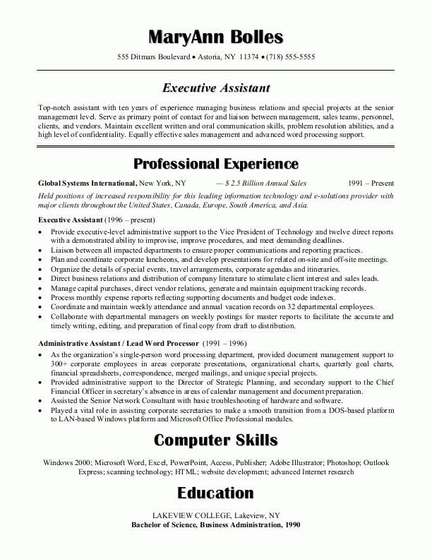 Sample Resumes Administrative Assistant Resume Or Executive XWXoWNDX