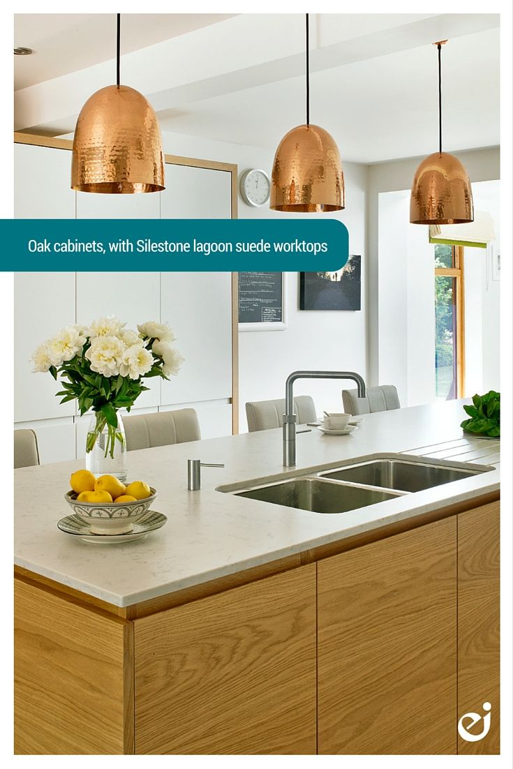 Contemporary Kitchen Oak cabinets with a Silestone Lagoon Suede Worktop