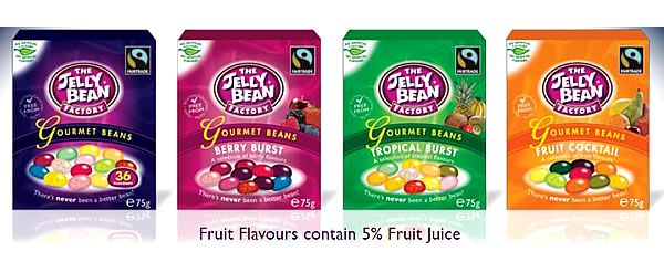 The 75g Fairtrade Box uses fair-trade sugar and comes in four varieties: 36 Flavour mix, Berry Burst mix, Fruit Cocktail mix and Tropical Bonanza mix.