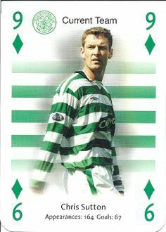 Chris Sutton of Celtic is the 9 of diamonds.