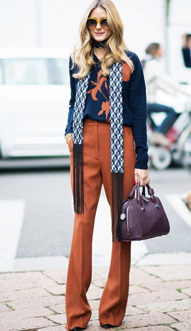 Style Notes: Olivia Palermo's trick here is to ensure the scarf matches at least some part of your outfit.