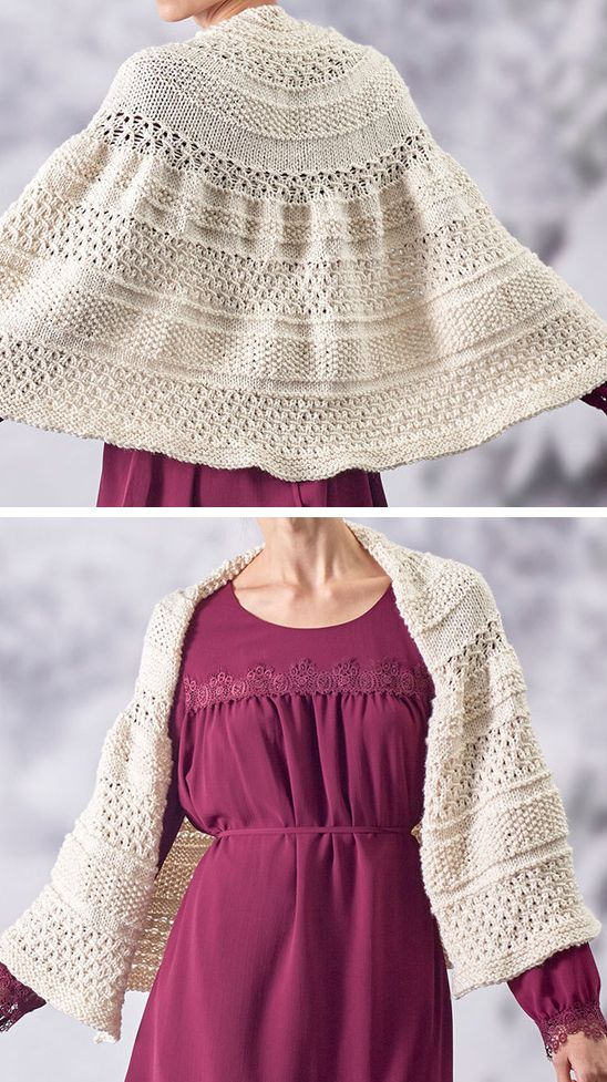 Free Knitting Pattern for Trellis Shawl - Wrap with alternating sections of eyelet lace, eyelets, and stockinette. Aran weight yarn. Designed by Christine L. Walter for Red Heart who rated the pattern easy.