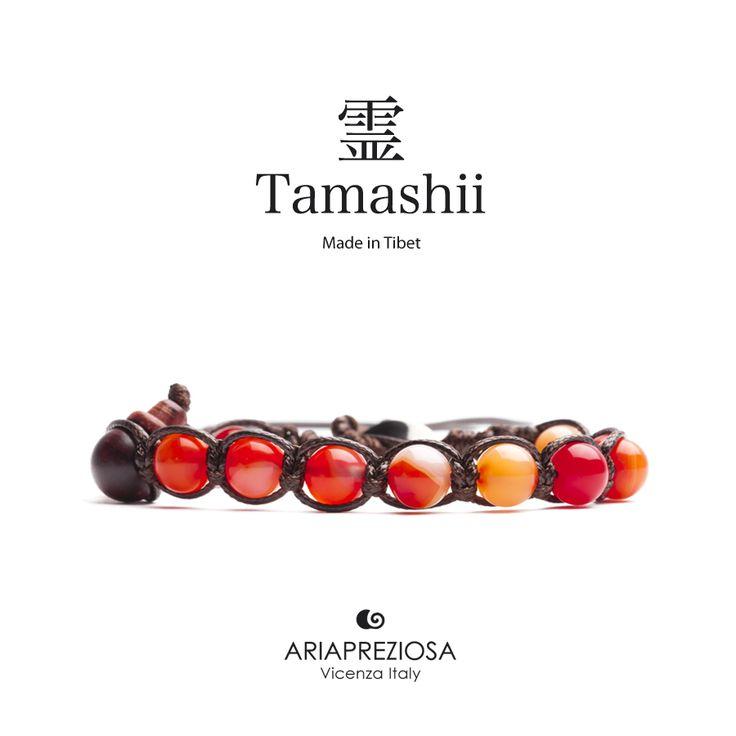 Tamashii - Bracciale Tradizionale Tibetano realizzato con pietre naturali AGATA LACE ROSSA