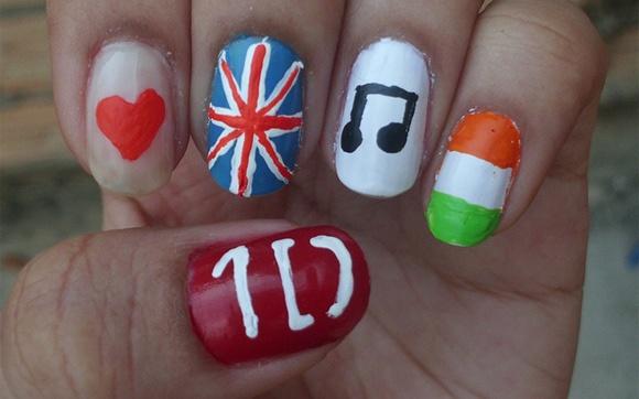 A nail art de Bianca Oliveira também leva bandeiras do Reino Unido e Irlanda!