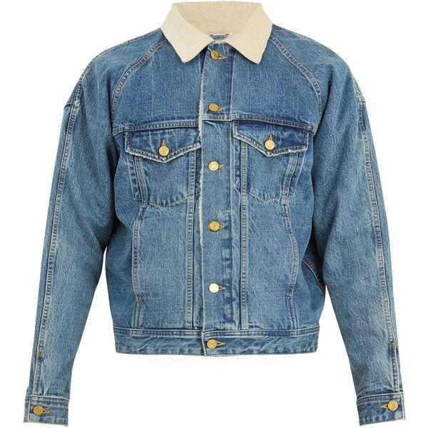 Fear Of God Corduroy-collar denim jacket (4.485 BRL) ❤ liked on Polyvore featuring men's fashion, men's clothing, men's outerwear, men's jackets, mid blue, mens blue jacket, mens oversized denim jacket and mens blue jean jacket