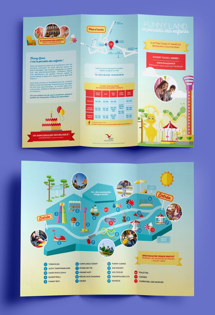 Plaquette FunnyLand - Agnès L / FourmiVolante #trifold #brochure #kids…