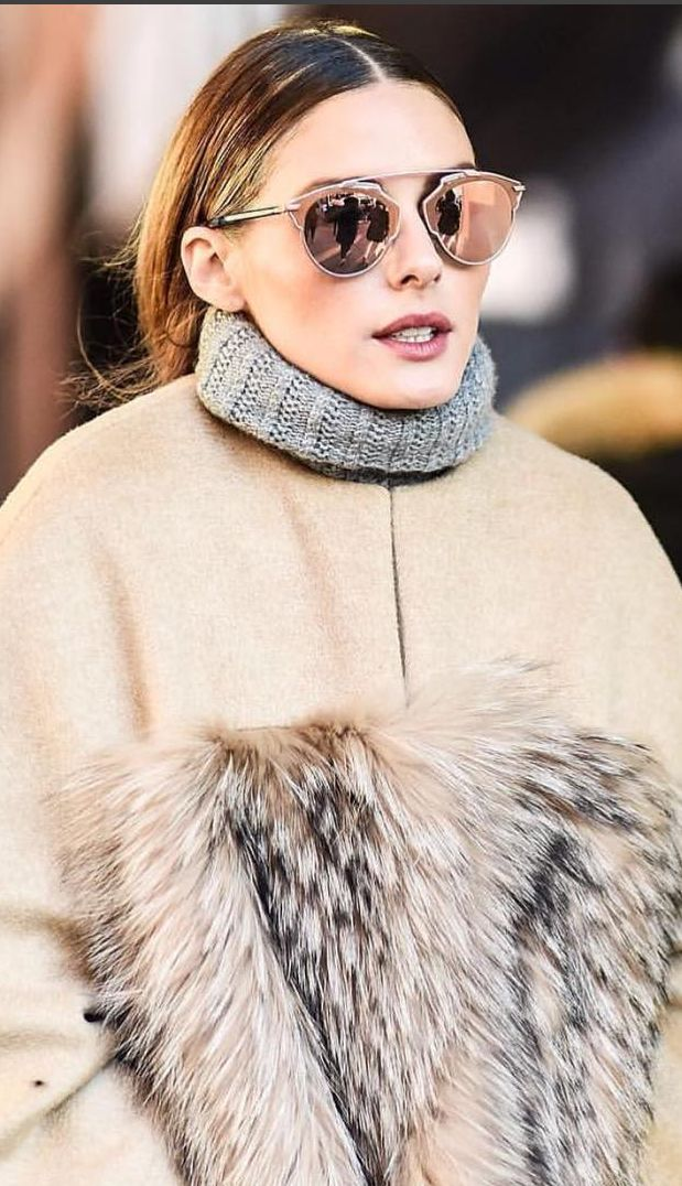 Who made Olivia Palermo's tan coat, gray turtleneck sweater, and sunglasses?