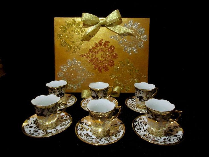 Indian tea time theme box & tea cups.  Temporarily out of stock.  Order yours custom made now!