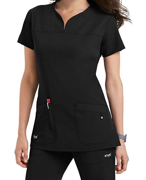 DISTINCTIVE AND DIFFERENTMake your job easier with the Grey's Anatomy Signature notch neck 2-Pocket scrub top! It has a four-way stretch fabric that's long on style and short on maintenance. Detailed pockets have an extra slot just for pens, and our notched neckline and front and back yokes make this a standout in the office or on the floor. Grey's Anatomy Signature Notch Neck 2 Pocket Scrub Tops Notch neck Front and back yokes Fitted back Two pockets 71% polyester/ 24% rayon/ 5% span...