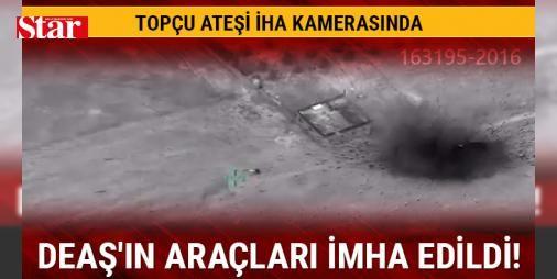 DEAŞın araçları imha edildi! İHA ile böyle görüntülendi : Fırat Kalkanı Harekatında topçu birlikleri ve savaş uçakları tarafından terör örgütü DEAŞa ait 8 adet uçaksavar monteli pikap vuruldu.  http://www.haberdex.com/turkiye/DEAS-in-araclari-imha-edildi-IHA-ile-boyle-goruntulendi/135448?kaynak=feed #Türkiye   #DEAŞ #terör #tarafın #uçakları #örgütü