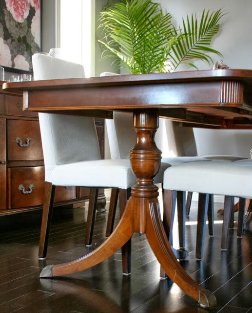 duncan phyfe style dining table but w quilted styled chairs