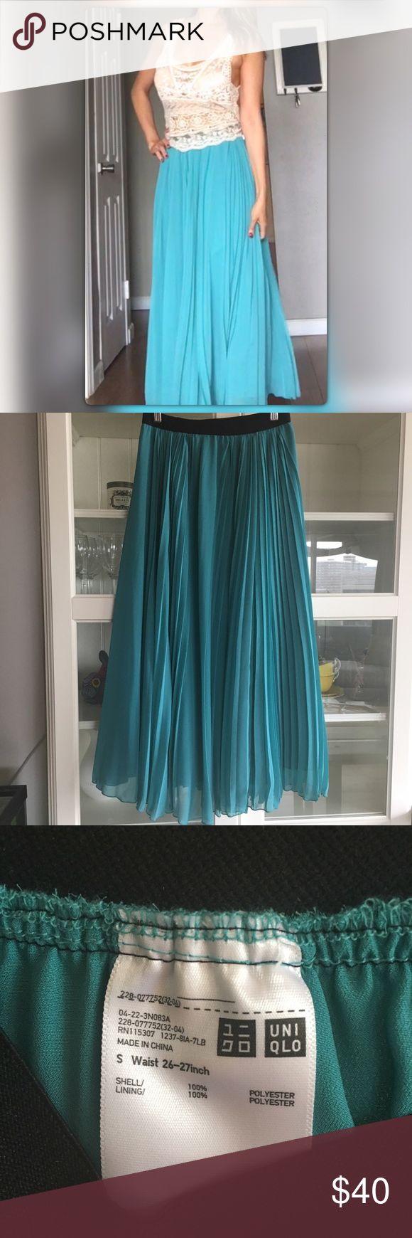 Romantic pleated aqua maxi skirt uniqlo Breezy pleated chiffon-like maxi skirt.  Elastic waist and slip on. Romantic and boho. Ultra easy style. Like new. No trades please. Uniqlo Dresses Maxi
