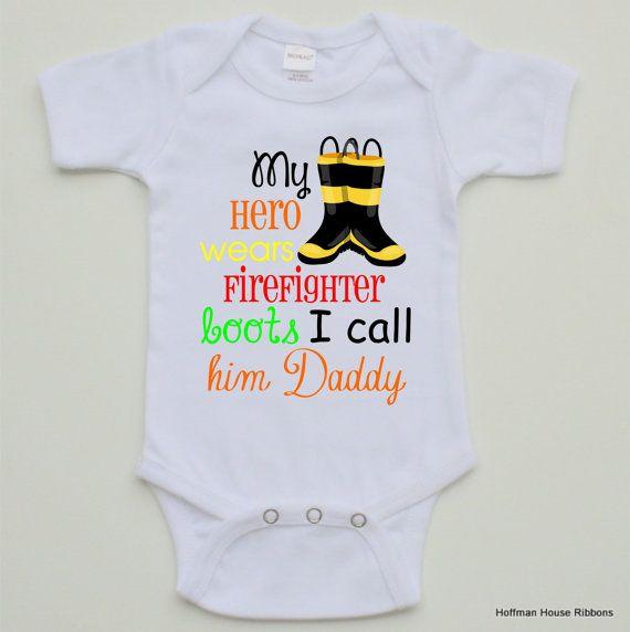 Firefighter Baby Boy Bodysuit by TheMonogramMaker on Etsy, $14.90