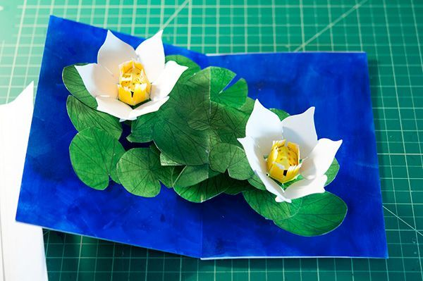Lem S Levity Double Lotus Pop Up Completed Pop Up Card Templates Pop Up Pop Up Cards