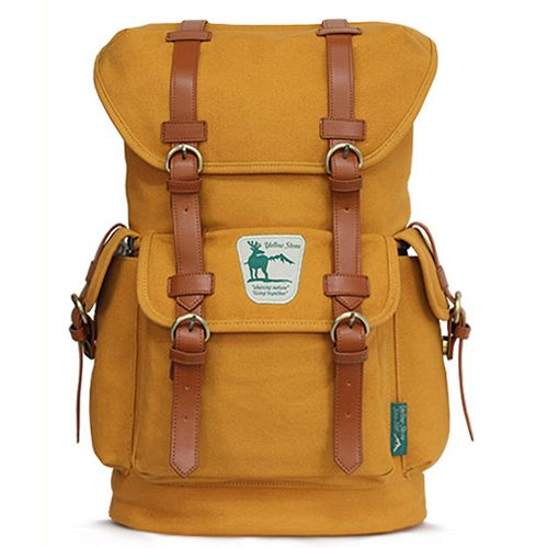 Mustard Backpack for College Canvas Rucksack for Men Yellowstone 1001