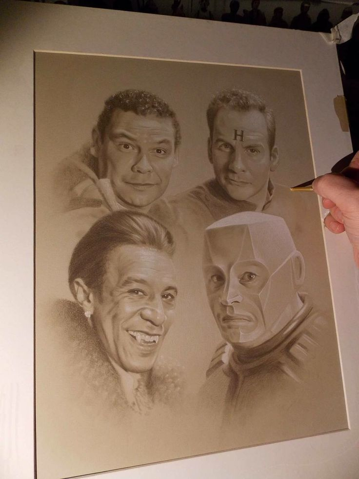 The Red Dwarf crew illustration by Barry Jones