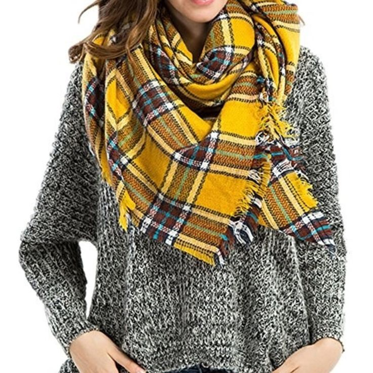 A plaid blanket scarf you can wear wrapped around your