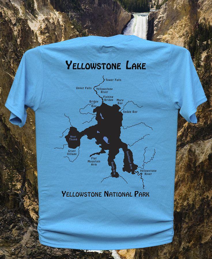 YELLOWSTONE LAKE RIVER Map T Shirt Unisex Fly