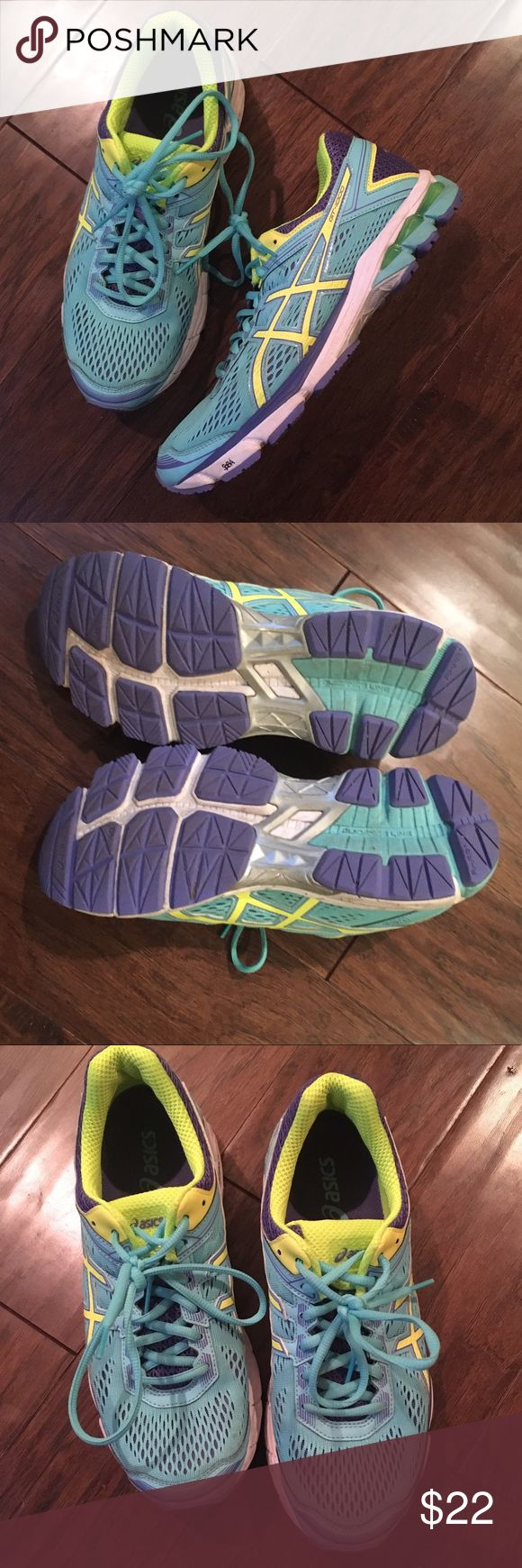 Asics neon blue running sneakers GT-1000 Asics neon running sneakers in perfect condition. Blue with neon green and purple details. Asics Shoes Sneakers