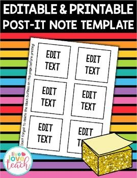 printable 3 inch post it note template editable freebie organize rh pinterest com