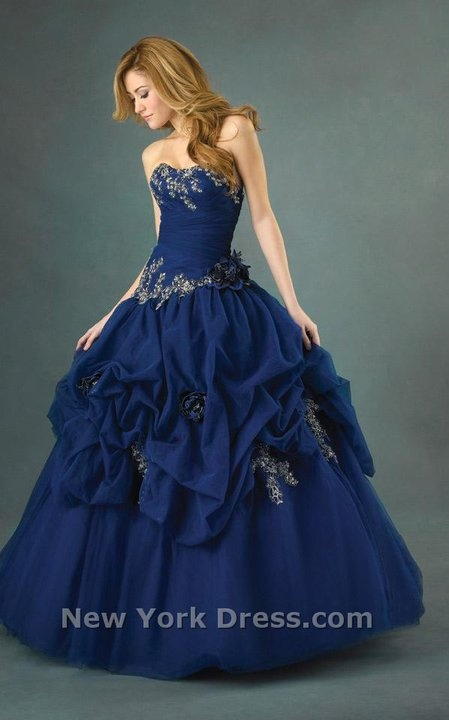 Navy blue ballgown with ruffles and flowers buds! Exquisite! Make it black! Possible masquerade dress?