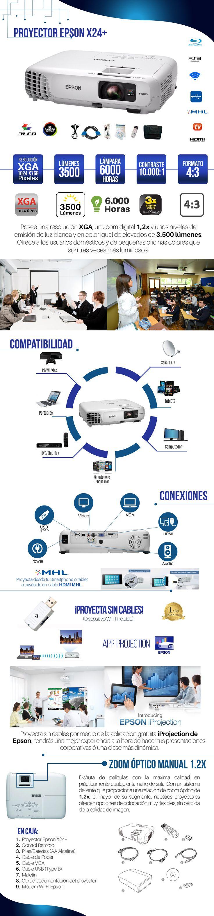 Proyector Epson X24+ 3500 Lumens Hdmi Wifi Video Beam Maleta