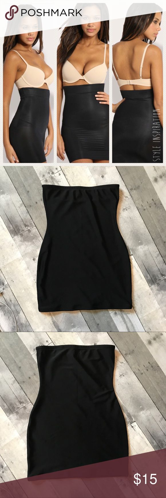 "Black Strapless Shapewear Half Slip, Size M There is a no slip strip at the top to keep shaper in place.  Worn maybe once or twice. There is a 3/4 inch place in the hem where it has started to come un-sewn. It's an easy fix. See photo.  Body and Lining 86% Polyester 14% Elastane  *All measurements are approximate. I do my best to be accurate. Across Top 12.5"" Waist 11.25"" Hips 15.25"" Across Bottom 15.25"" Intimates & Sleepwear Shapewear"