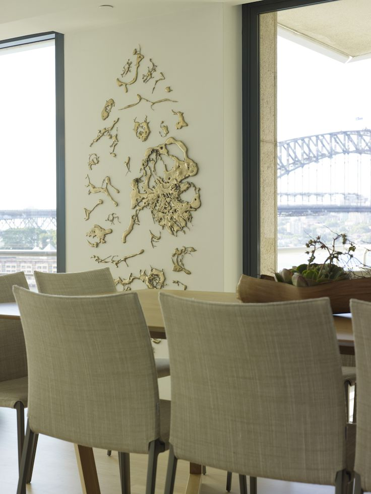 Lindy Lee artwork with views to the bridge. Zanotta chairs and Hub table. Johnson Pilton Walker interior architecture with Brooke Aitken Design interior furnishings and accessories.