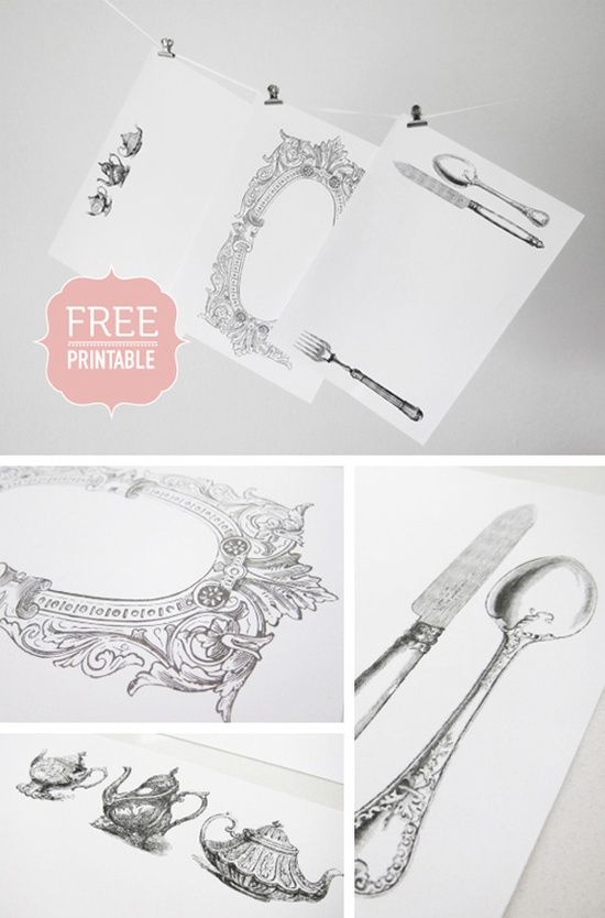 printable placemats with teapots and fork, spoon, knife.