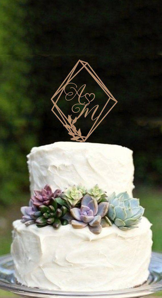 Geometric Wedding Cake Topper Modern Wedding Cake Topper Initials Cake topper Rustic Cake topper H