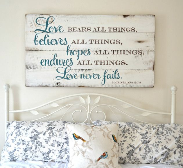 Love bears all things, believes all things, hopes all things, endures all things, love never fails. || wood sign by Aimee Weaver Designs