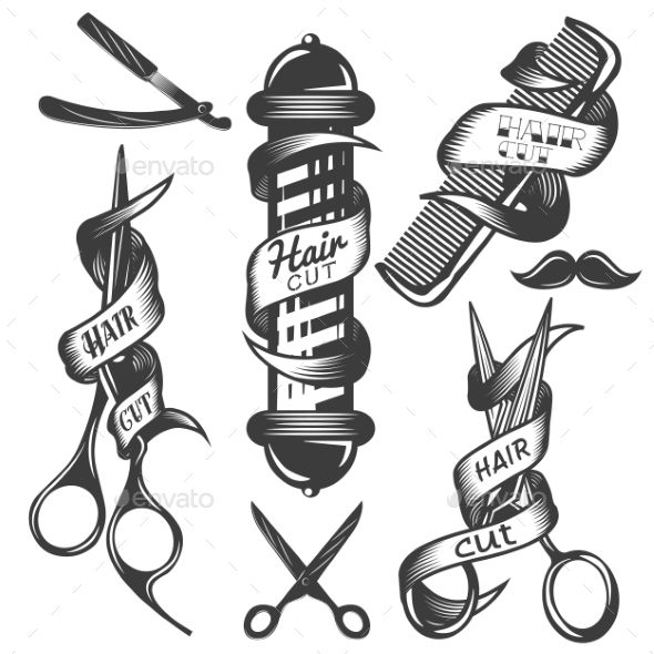 Set of Hair Salon Vintage Labels - Decorative Symbols Decorative