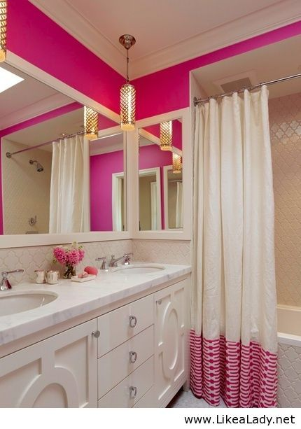 Pink and gold bathroom dream home pinterest for Girls bathroom ideas