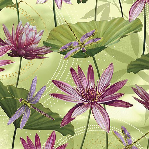 8499M-44 Waterlily Pool Grass Green Exquisite printing, beautiful colours and design, lovely theme - Dance of the Dragonfly has all the makings of a fabric classic. The printing is truly extraordinary with very fine gold accents - so difficult to achieve! Dragonflies flit among the waterlilies, or fly in a night sky filled with stars. in two luscious coloorways: blue/green and gold/purple. Truly beautiful. 100 % cotton, Juberry Fabrics supply in long quarters of a metre but...