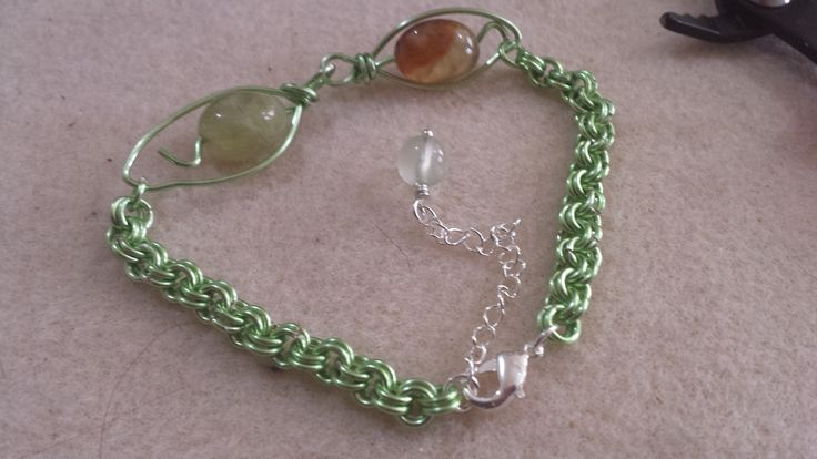 Hand crafted Chartreuse wire  Leaf Bracelet with Brandy Prehenite, Hand crafted chain Silver plated lobster claw clasp and extender chain with plain Prehenite round