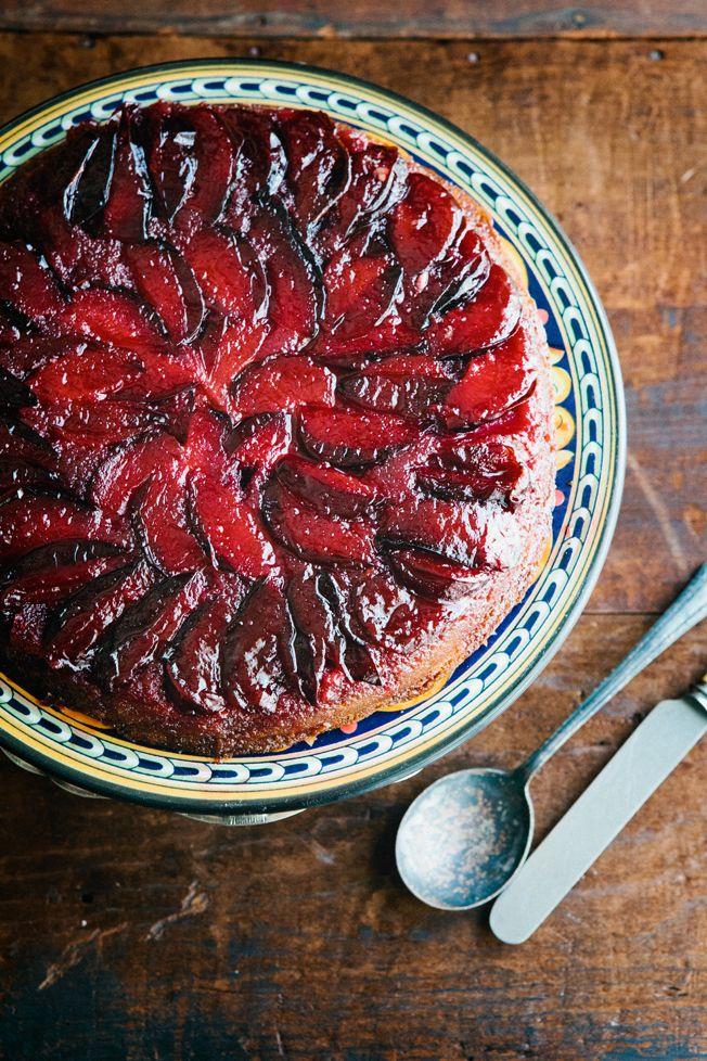 Upside Down Plum Cake by redstartolonestar #Cake #Plum #redstartolonestar