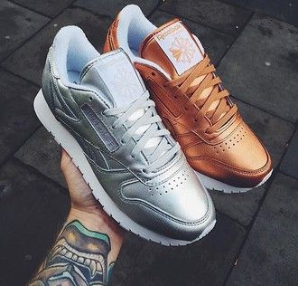 shoes metallic bronze silver trainers reebok sneakers sportswear sports shoes tennis shoes gold silver shoes orange reebox