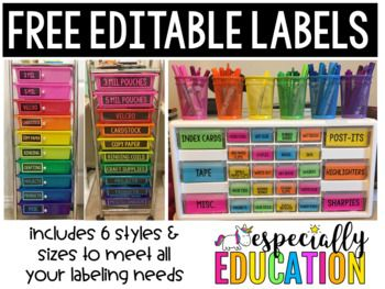 """With a little colored paper, these black and white labels can brighten any room! This download includes:3""""x3"""" square labels3""""x3"""" circle labels4""""x2"""" rectangle labels"""