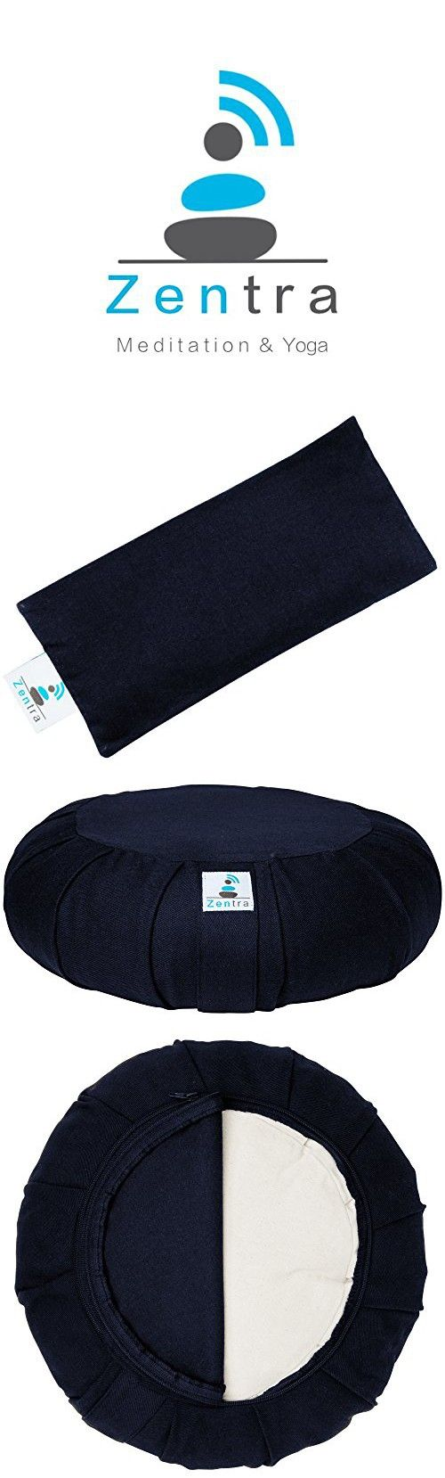 Zentra Zafu Yoga MEDITATION CUSHION with BONUS EYE PILLOW - 100% Natural Cotton - Designed for Quality, Comfort, and Durability - Satisfaction Guaranteed (Navy Blue)