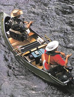 tricked-out fly fishing canoe