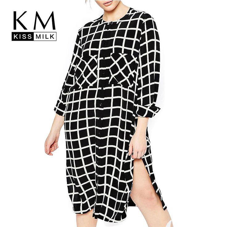 Women Plus Size Boy Friend Style Big Large Size Double Pockets Plaid Long Sleeve Side Split Shirt Dress