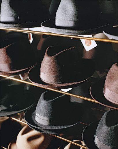 GQ.com: Just What the Hell Is a Blocked Hat?  Named  for  the  block  of  wood  around  which  they're  molded,  handmade  blocked  hats—bowlers,  fedoras,  anything  with  a  structured  brim  and  crown—are  made  much  the  same  way  today  that  they  were  150  years  ago.  Old-school  hatmaker  Frenel  Morris  of  Still  Life  in  New  York  first  steams  the  felt  for  about  thirty  seconds.  This  softens  the  fabric  so  that  it  can  be  stretched  onto  the  block,  where…