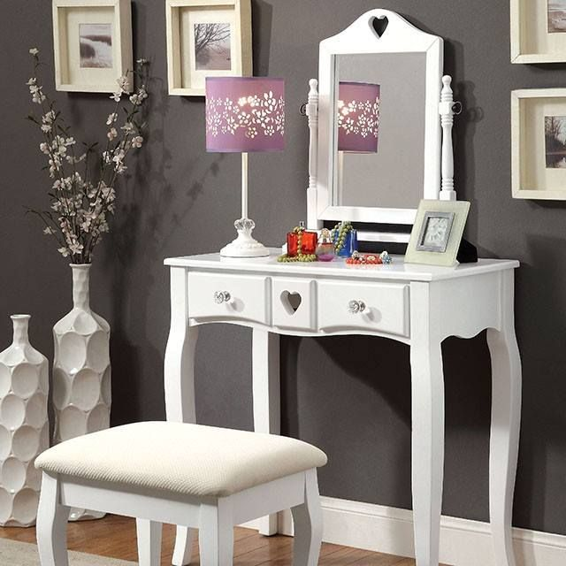 Guarantee you're ready to face whatever the day throws your way with this vanity table and stool set. The curved legs decorating the table and stool provide convenient support while also adding visual interest to the design. #JMDFurniture #Convenient #FurnitureLife