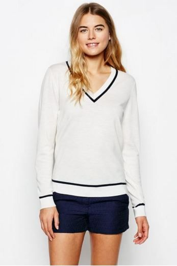for those crisp mornings, pair with blue jeans (you could even casually tuck it in to a high waisted pair) and cons for a casual day of seeing the sights/ Marten Cricket V Neck Sweater from Jack Wills £59.50