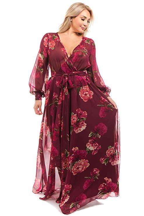 301340271e36  49.99 RICARICA Plus Size Floral Printed Chiffon Maxi Dress (Berry ...