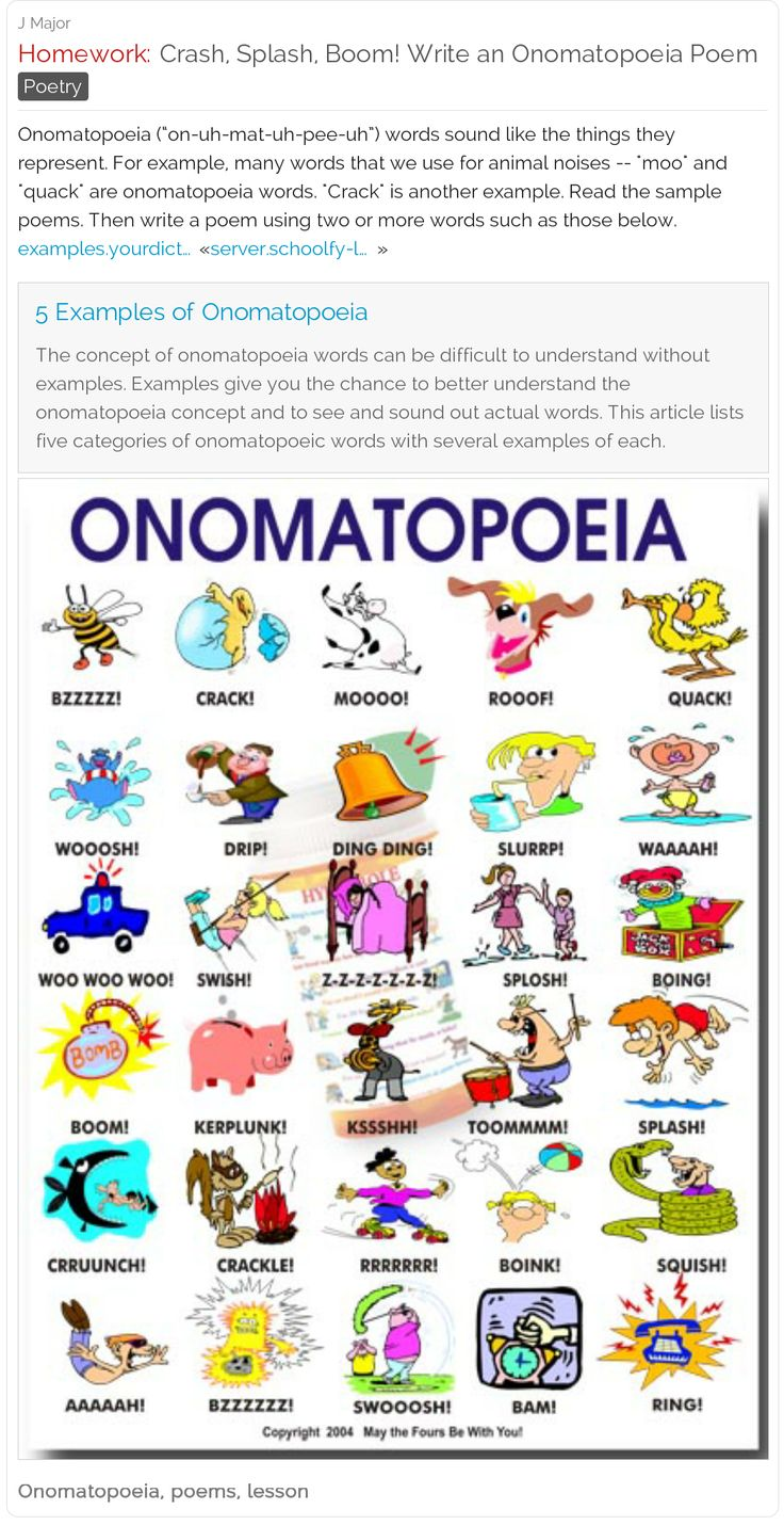 Crash, Splash, Boom! Write an Onomatopoeia Poem - Resources for teachers to share with students | #poetry #elementary #middleschool