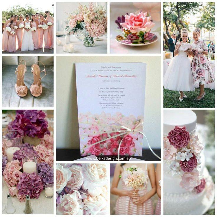 Spring pink theme with hydrangea invite