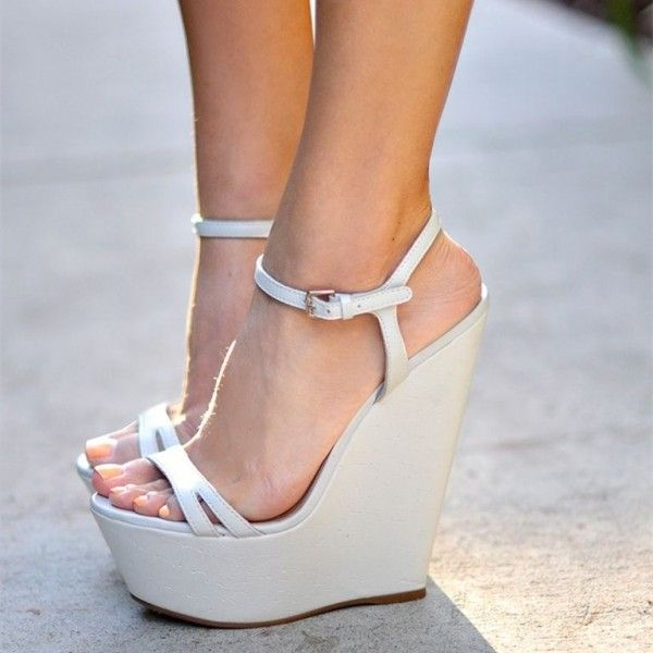 White Wedge Sandals Open Toe Platform