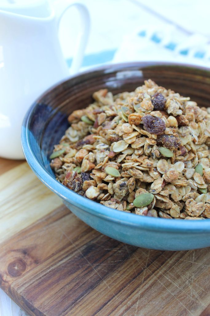 Chia Peanut Butter Granola Peanut buttery, coconutty, and brimming with healthy seeds and nuts, this naturally sweetened recipe will be your new go to granola!